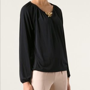 Michael Kors Navy Blouse With Gold Chain Detail
